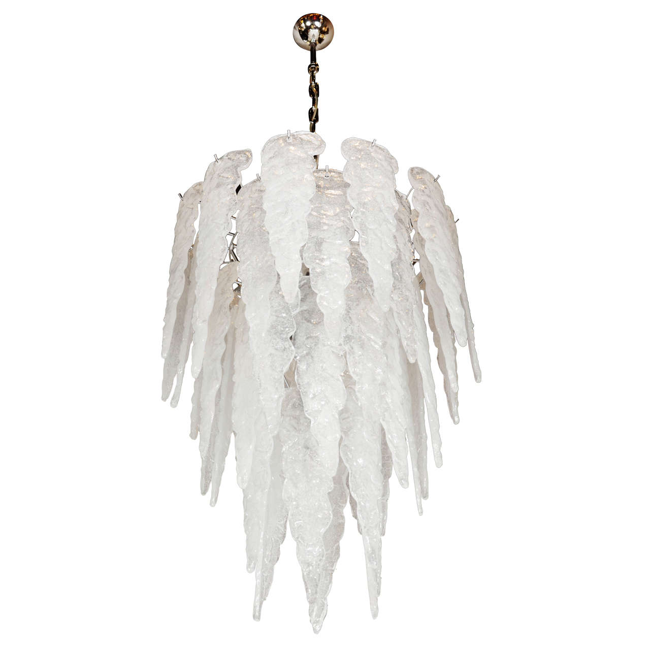 Sculptural Hand Blown Murano Glass Icicle Chandelier By