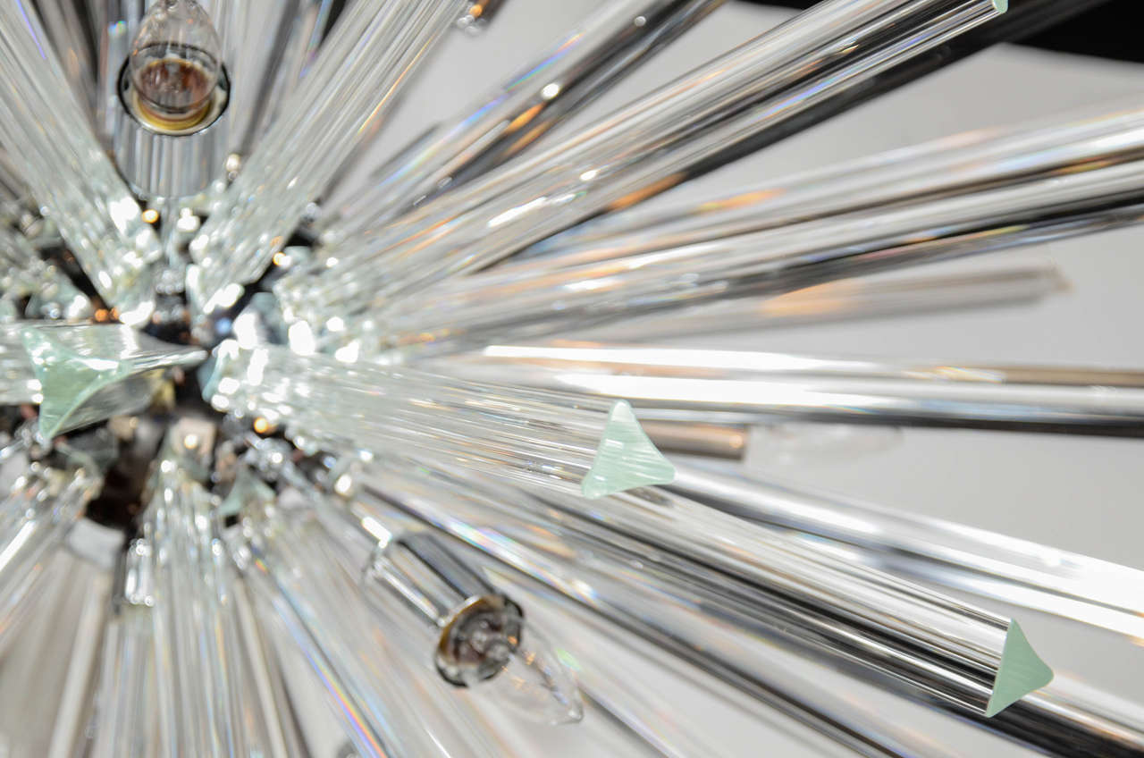 Monumental Murano Glass Triedre Crystal Sputnik Chandelier In Excellent Condition For Sale In New York, NY
