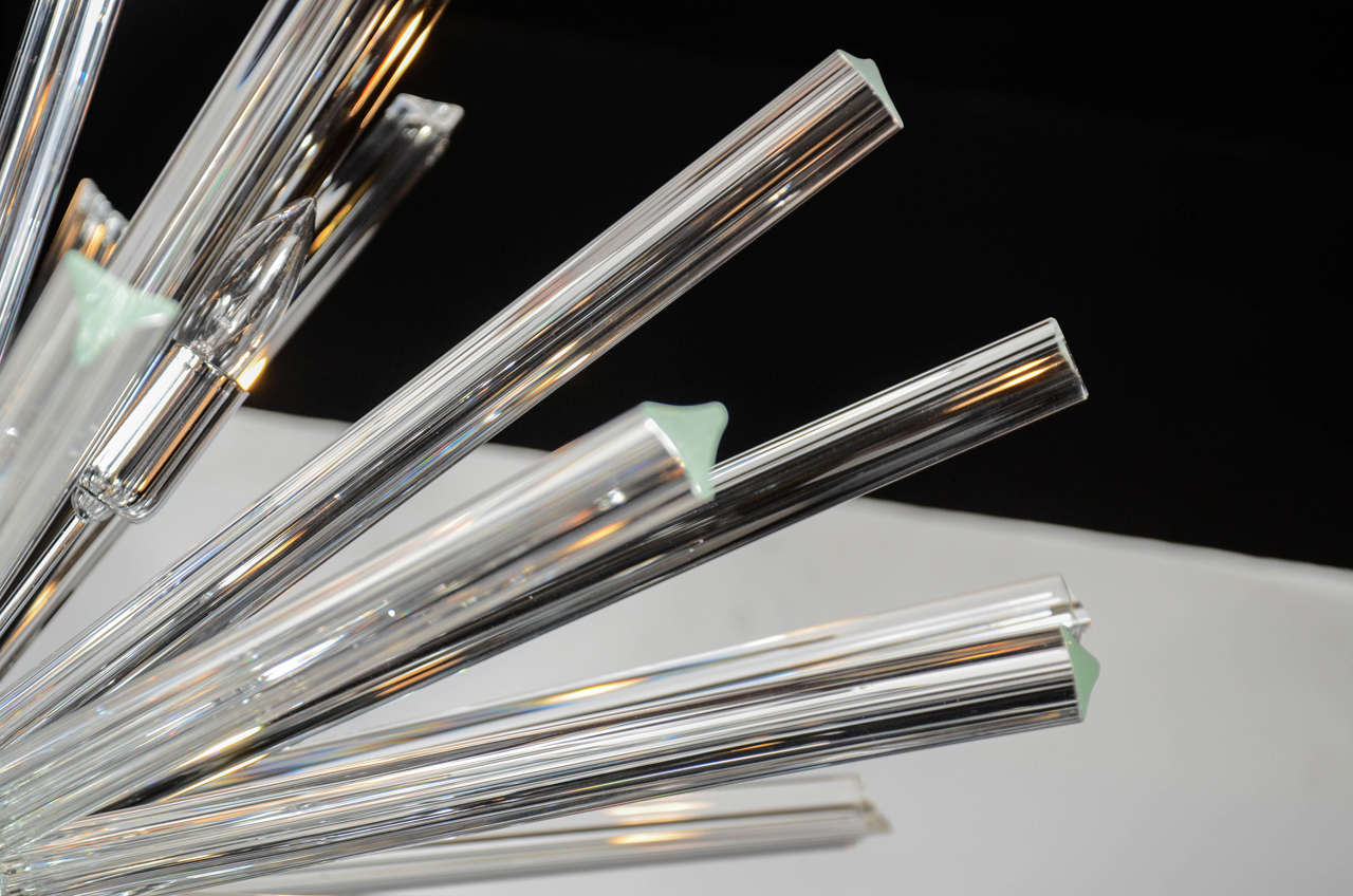 Contemporary Monumental Murano Glass Triedre Crystal Sputnik Chandelier For Sale