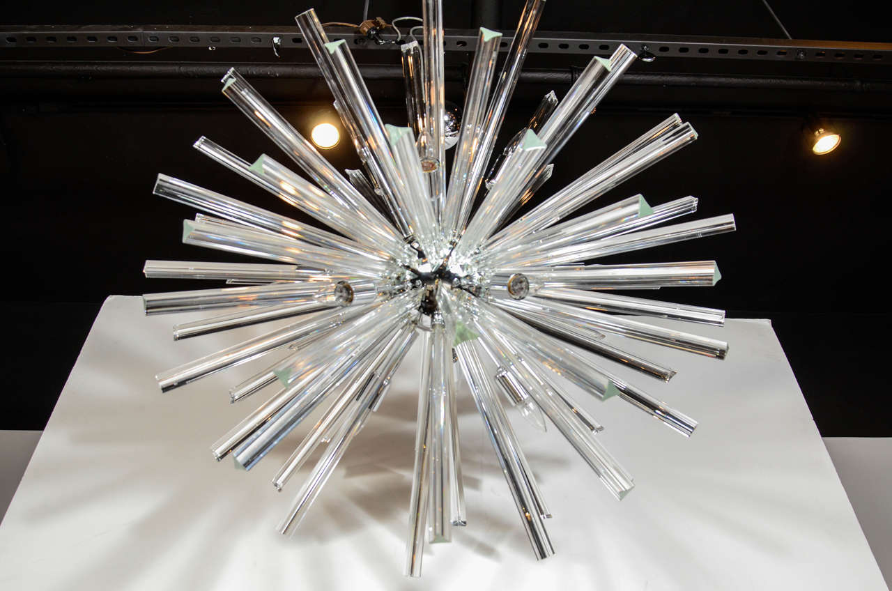 Monumental Murano Glass Triedre Crystal Sputnik Chandelier For Sale 1