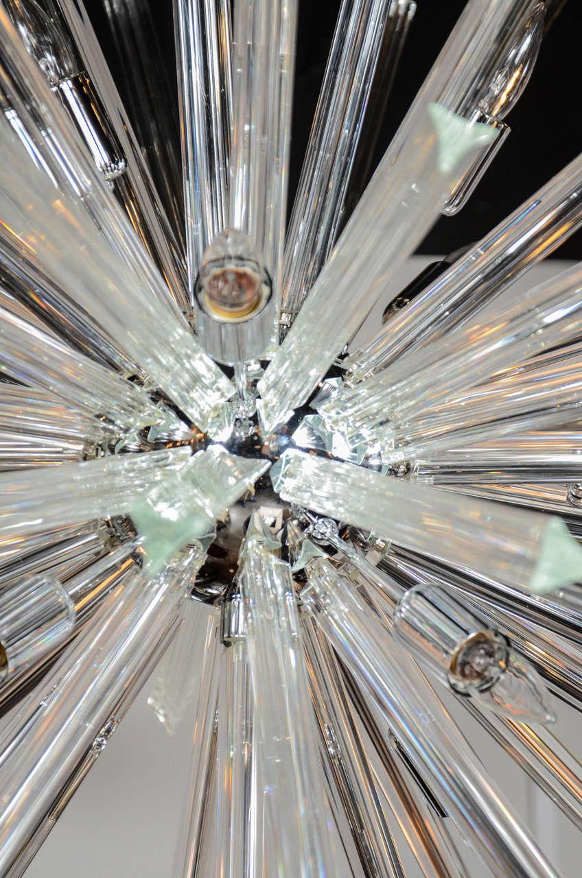 Monumental Murano Glass Triedre Crystal Sputnik Chandelier For Sale 2