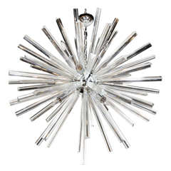 Monumental Murano Glass Triedre Crystal Sputnik Chandelier