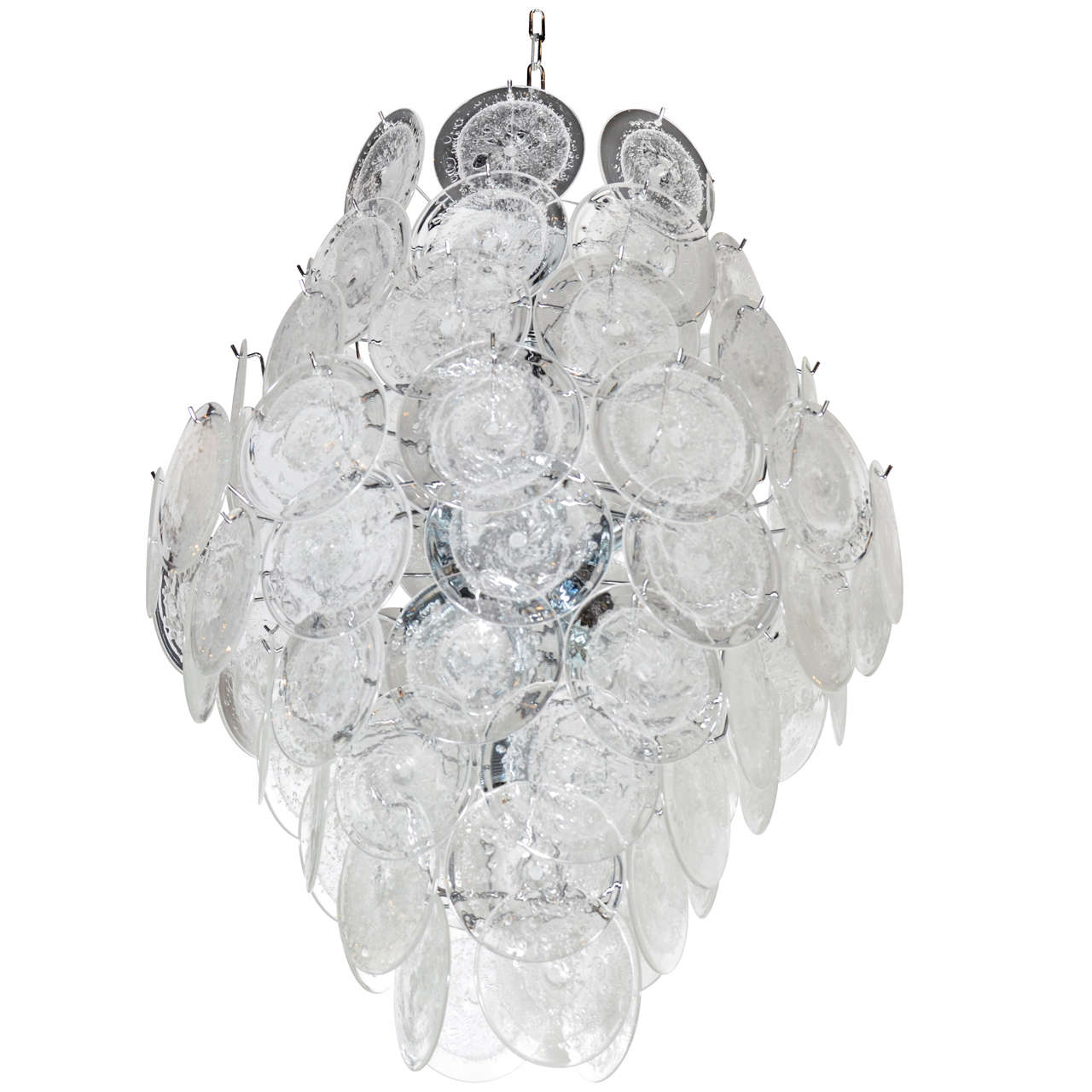 Large 84 Murano Glass Disc Vistosi Chandelier