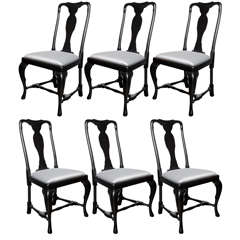 Set of Mid-Century Dining Chairs with Cabriole Detailing by Jansen