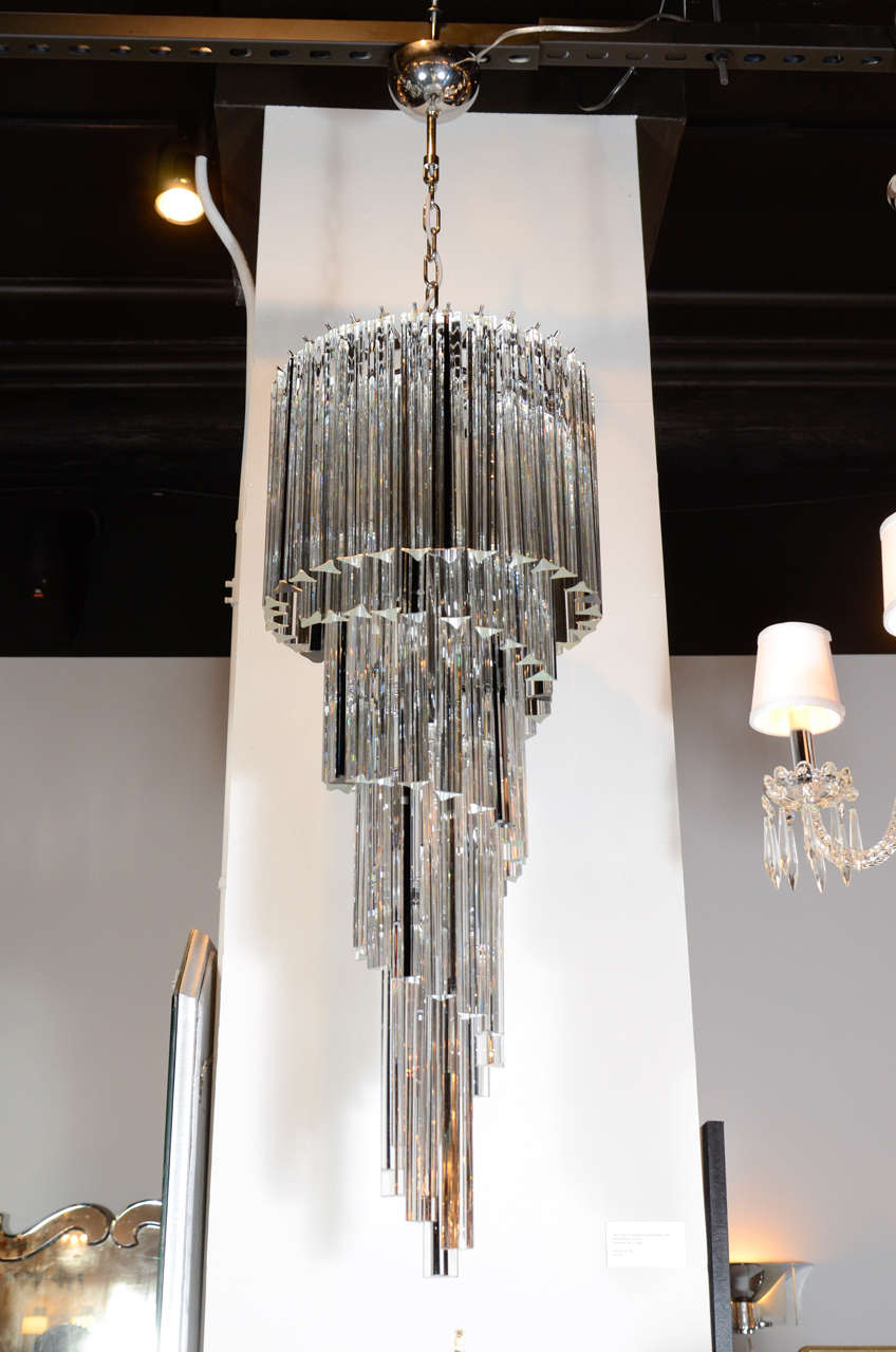 Cascading spiral clear and black murano glass camer chandelier at this spectacular italian chandelier features clear murano glass rods with feature black glass rods that cascade arubaitofo Gallery