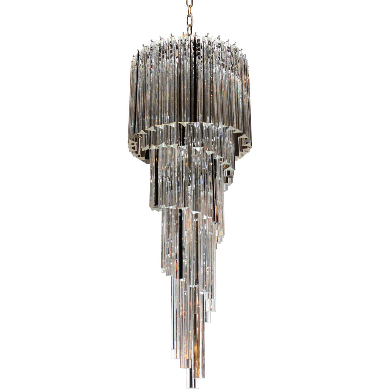 Murano Spiral Chandelier: Cascading Spiral Clear And Black Murano Glass Camer
