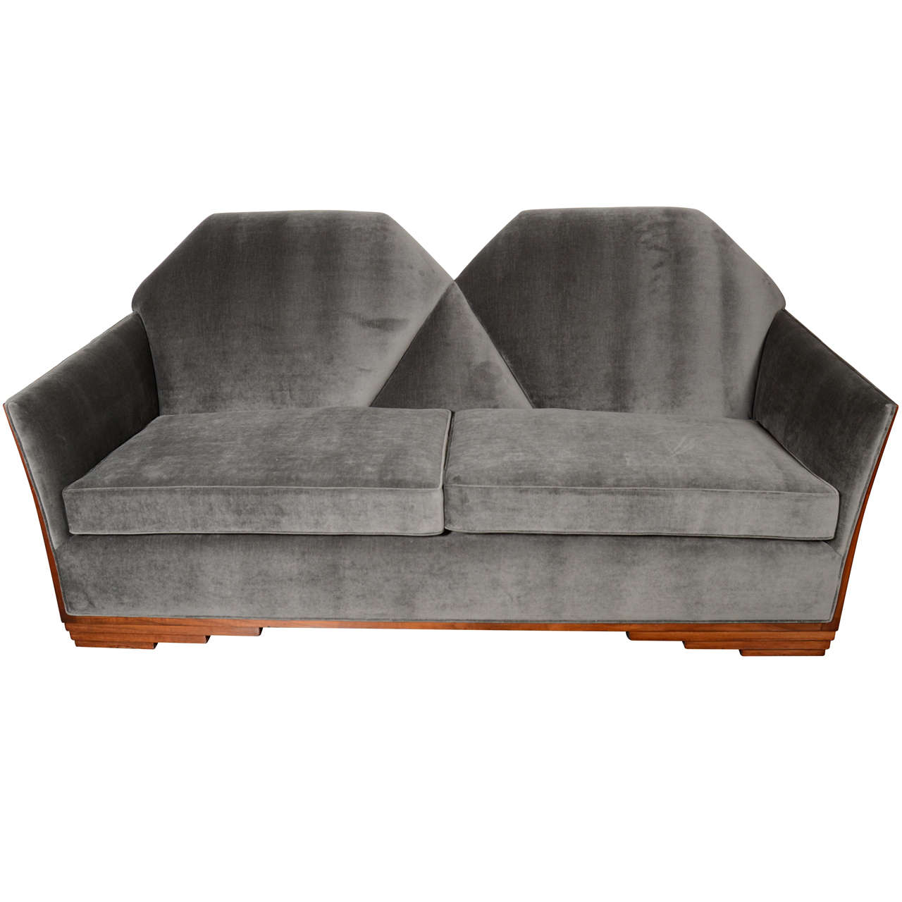 Cubist art deco skyscraper style sofa in luxurious grey for Art deco style sofa