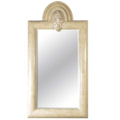 Exceptional Mid-Century Tessellated Limestone Mirror with Mother-of-Pearl Accent