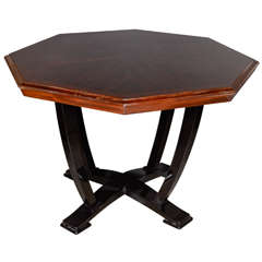 Exquisite  Art Deco Center Hall Table in Book Matched Macassar & Mahogany