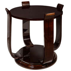 Exquisite Art Deco Gueridontable In Book Matched Mahogany W/ Scroll Supports