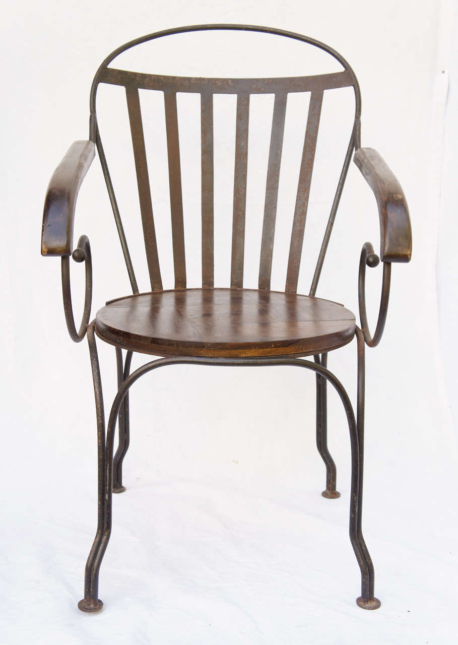 Great pair of antique iron arm chairs for sale at stdibs