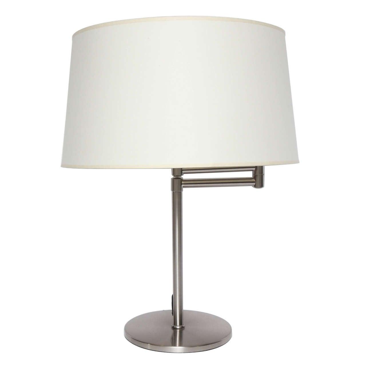 brushed metal swing arm desk lamp at 1stdibs. Black Bedroom Furniture Sets. Home Design Ideas