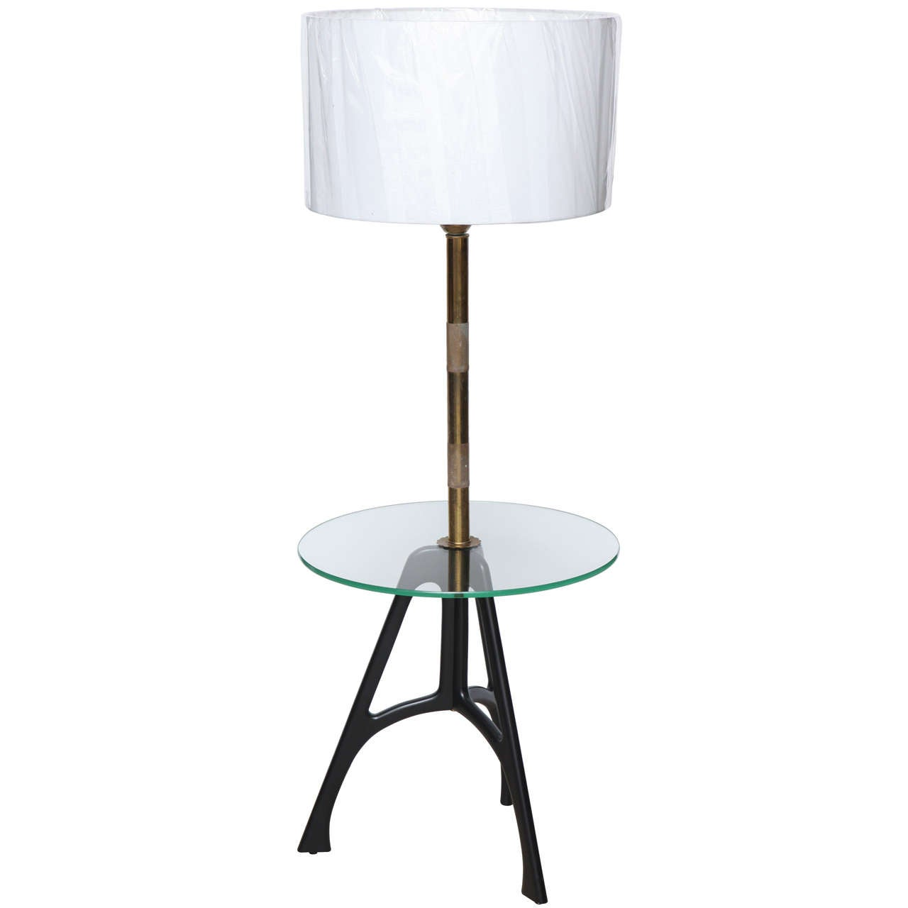 1950 39 s tripod floor lamp with glass tray at 1stdibs. Black Bedroom Furniture Sets. Home Design Ideas