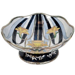 Italian Earthenware Footed Centerpiece Bowl Designed by G. Fieravino