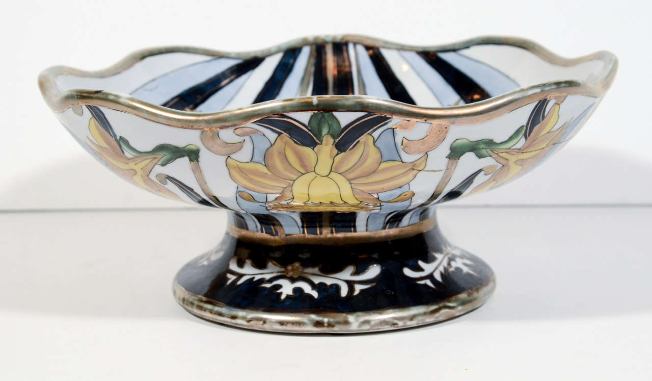 Italian earthenware footed centerpiece bowl designed by g