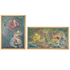 Pair of Abstract Paintings by Naomi Lorne in Original Gold Leaf Frames