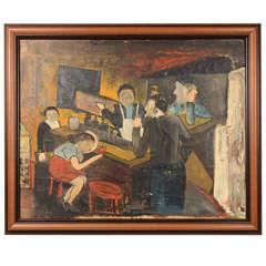 """European Bar Scene"" Figurative Oil on Canvas Painting"