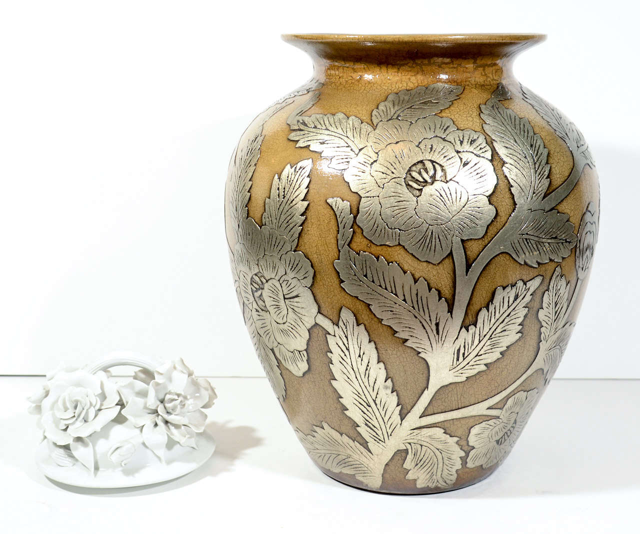 Ceramic Pottery Urn Vase With Relief Designs In Silver