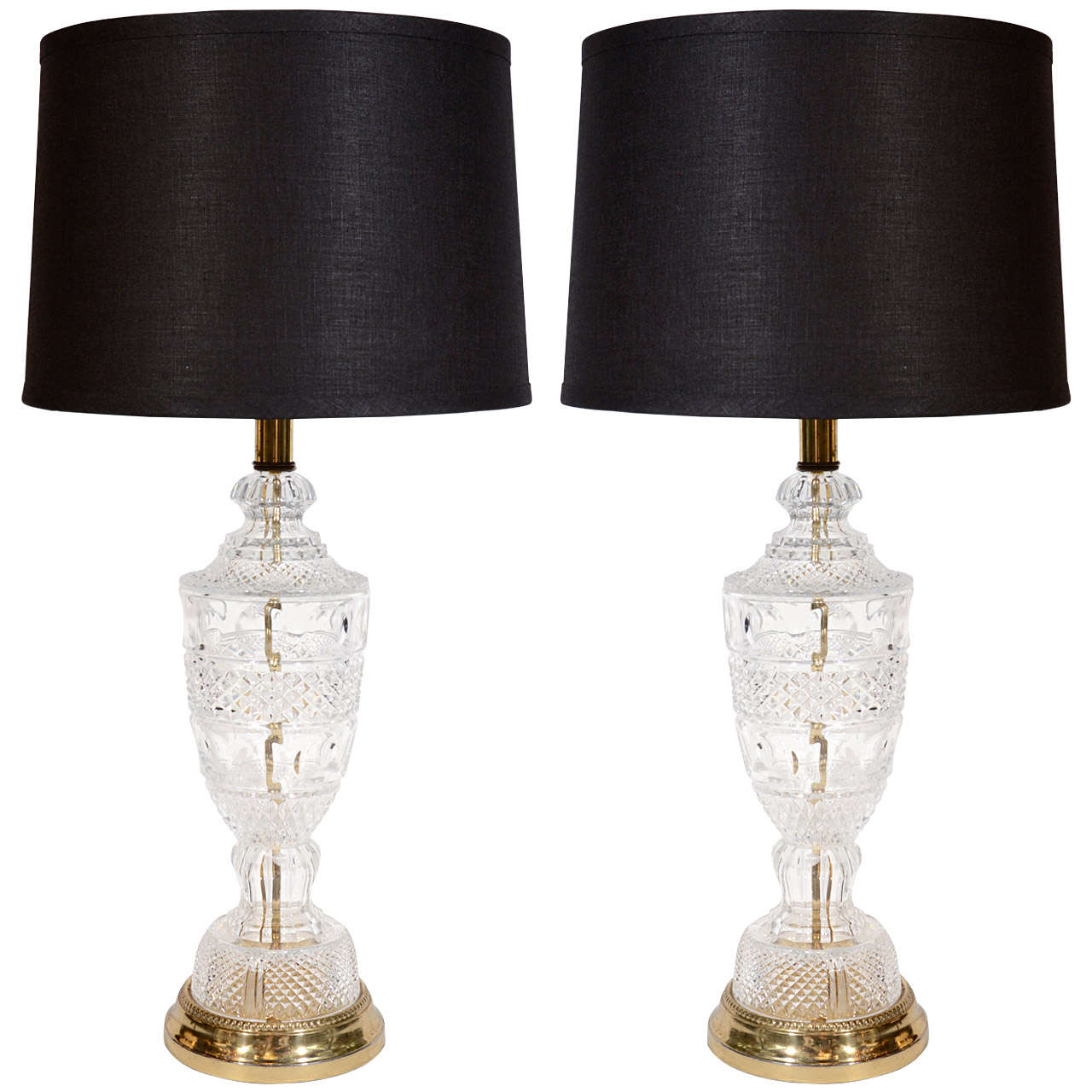 Pair Of Baccarat Style Hollywood Regency Cut Crystal Lamps For Sale