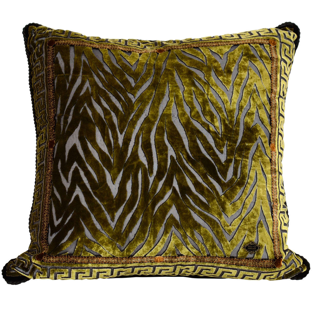 Vintage Atelier Versace Moss Green Velvet Pillow with Exotic Print at 1stdibs