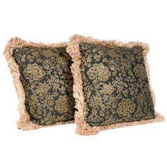 Pair of Fine Vintage Embroidered Decorative Pillows