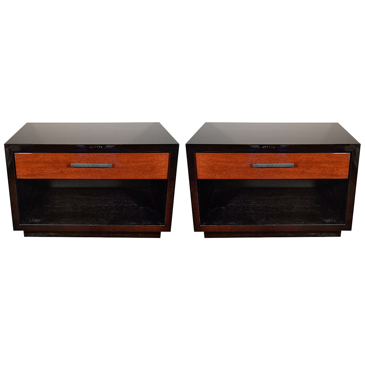 Great Pair Of Art Deco Inspired Low End Tables/Night Stands With Streamline  Design 1