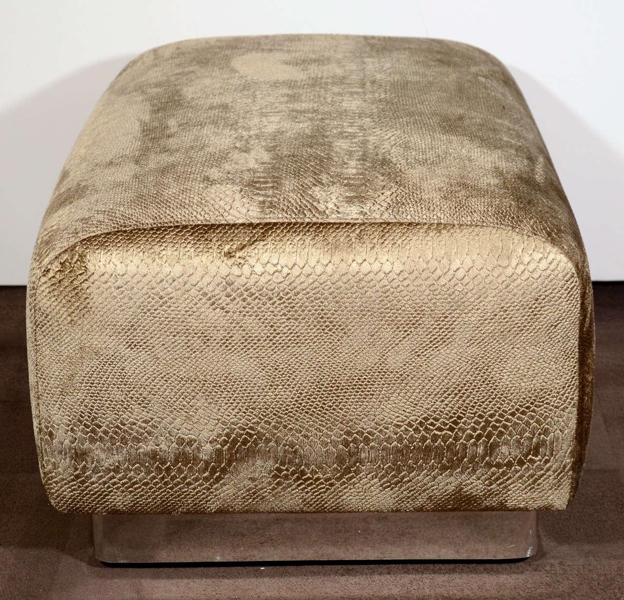Modernist Luxe Python Velvet Ottoman In The Manner Of Karl