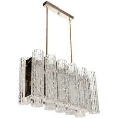 Modernist Glass Cylinder & Chrome Rectangular Chandelier by Doria