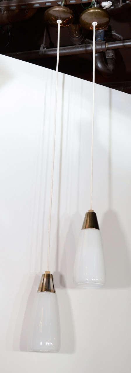 Pair of Danish Modernist Opaline Glass Pendant Lights image 2