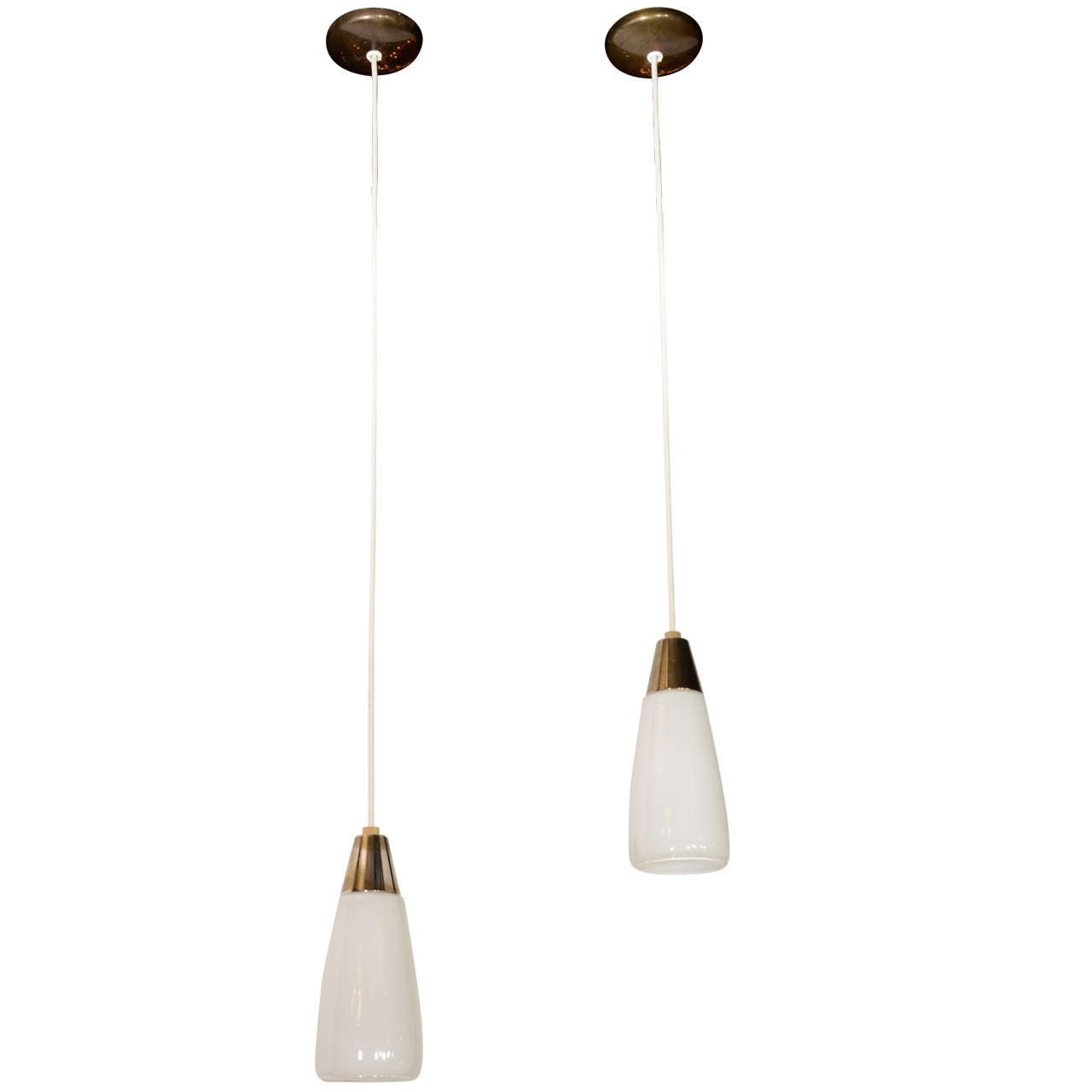 Pair of Danish Modernist Opaline Glass Pendant Lights