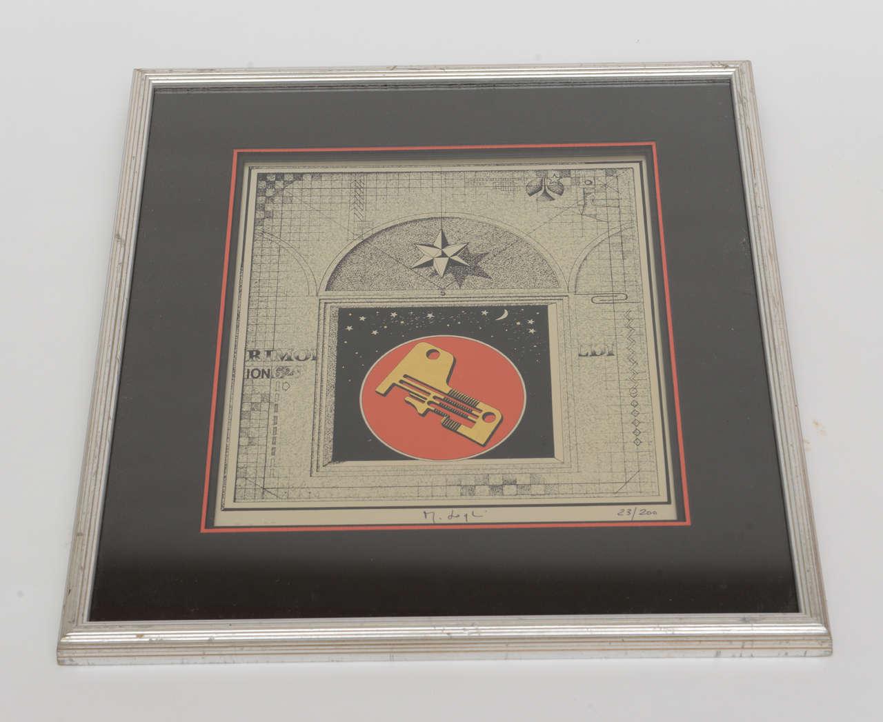 Mid-Century Modern Signed Mario Logli Red, Black, Gold Futurist Work of Art Italian Vintage For Sale