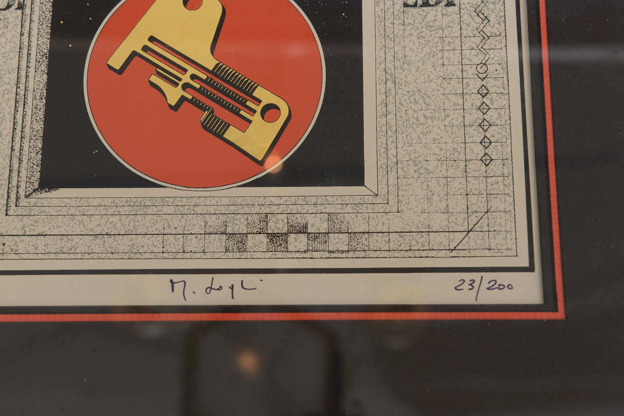 Wood Signed Mario Logli Red, Black, Gold Futurist Work of Art Italian Vintage For Sale