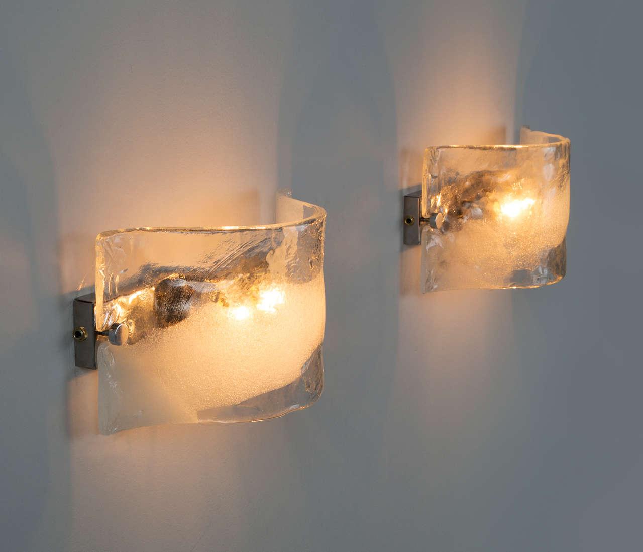 Set of 2 Italian Murano Glass Wall Lights For Sale at 1stdibs
