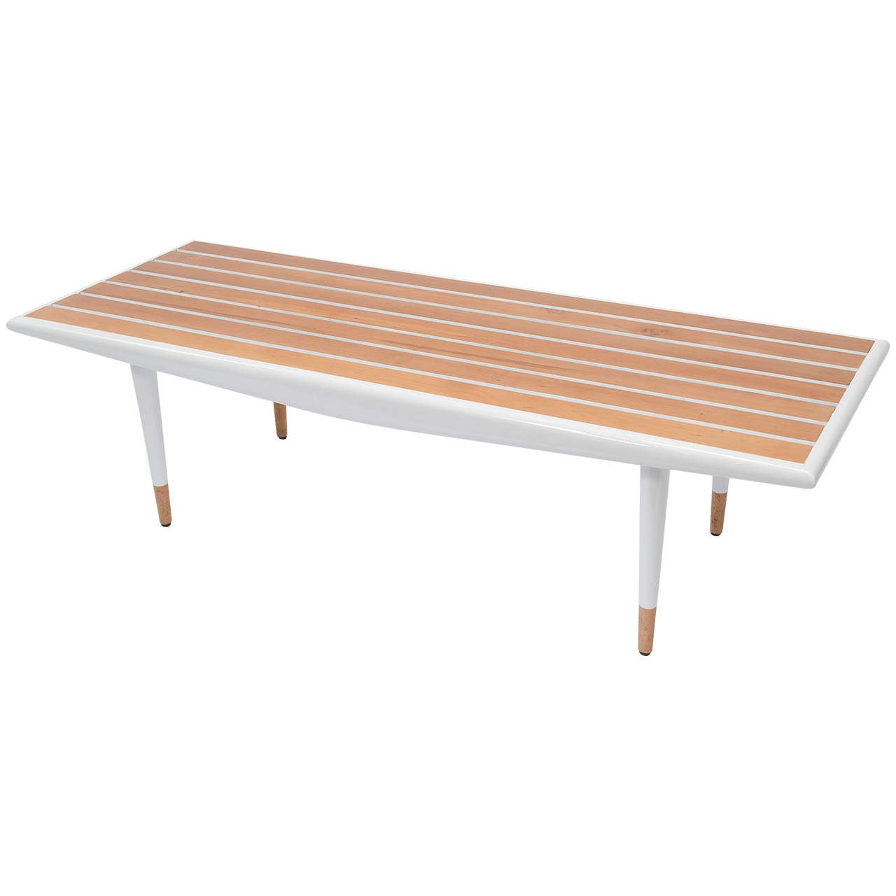 Mid Century White Slatted Wood Table Bench At 1stdibs