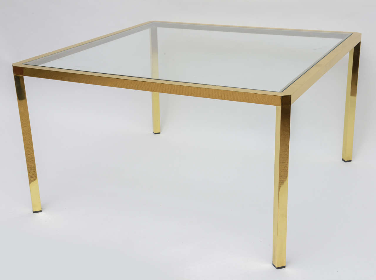 Late 20th Century Mid- Century Modern Square Brass Glass Coffee Table from Italy For Sale