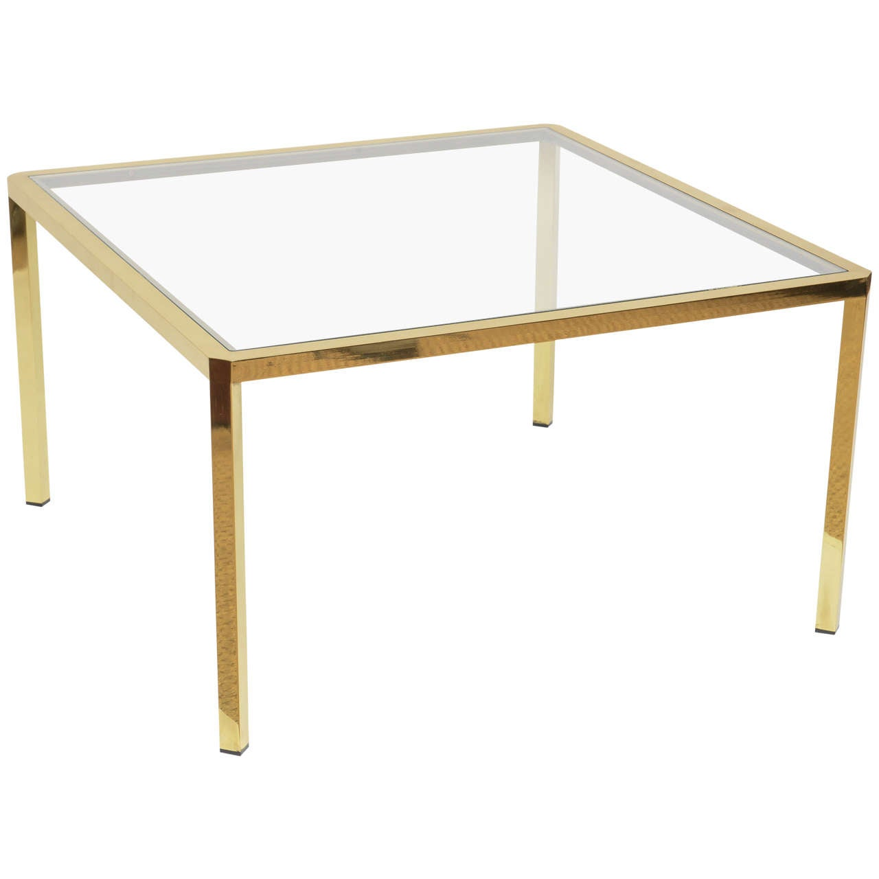 Mid- Century Modern Square Brass Glass Coffee Table from Italy For Sale