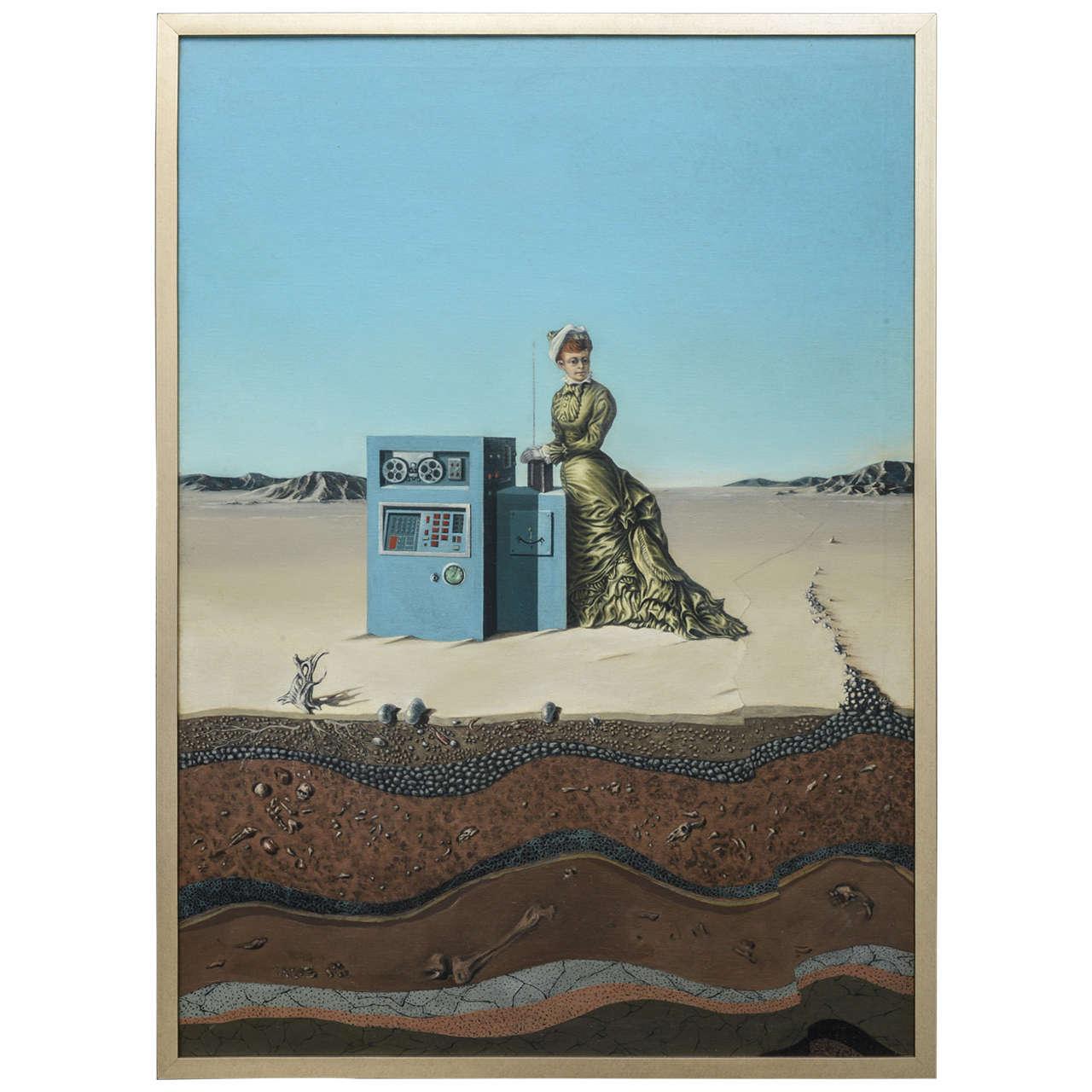 "Oil on Canvas ""Desert Landscape with Woman & Computer,"" Robert Springfels, 1970"