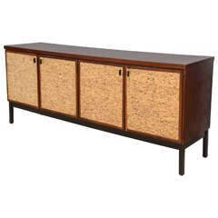 Italian Modern Mahogany and Cork Four-Door Credenza or Buffet