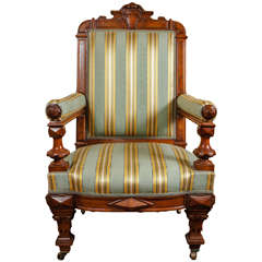 19th Century Fine American Renaissance Revival Library Chair