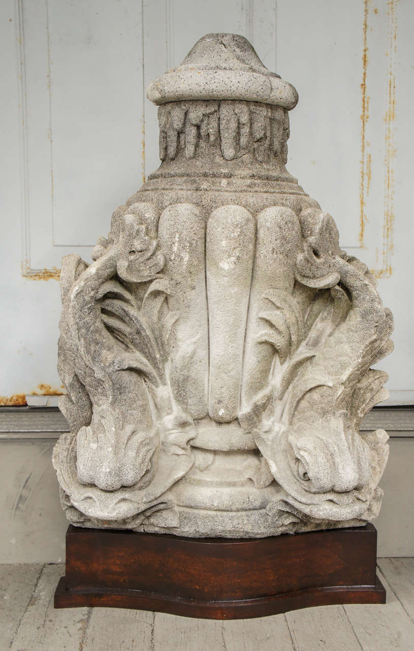 This fine fountain head once formed part of a free standing grotto  fountain and bowl or was wall mounted with the water dropping into a separate bowl. Displayed now on a wooden stand as an art object the piece has a large and dramatic sculptural