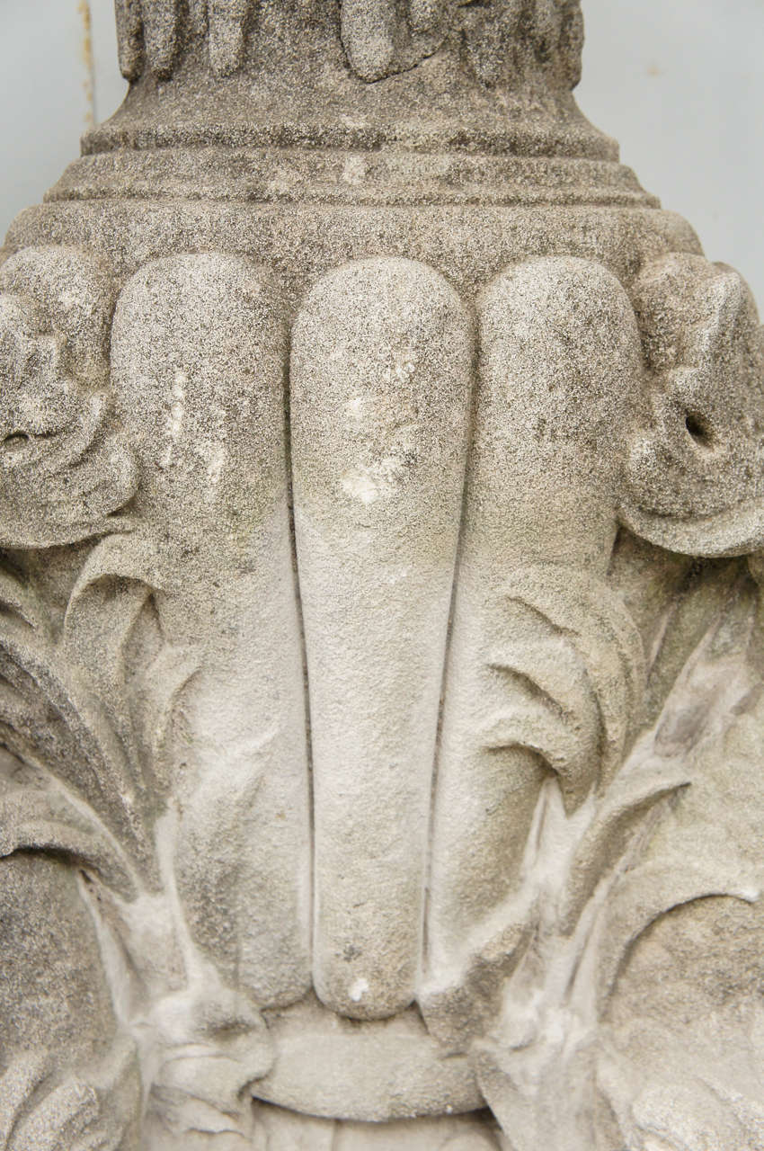 British Fine Late 19th Century Carved Coade Stone Fountain Head Mounted on Stand For Sale