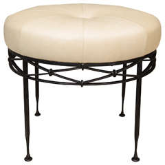 Wrought Iron and Leather Ottoman