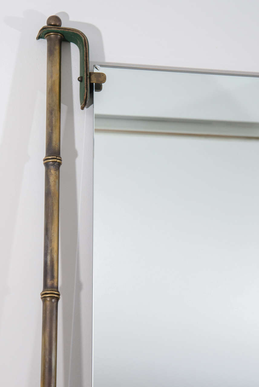 Jacques Adnet Leather and Brass Frame Mirror In Excellent Condition For Sale In New York, NY
