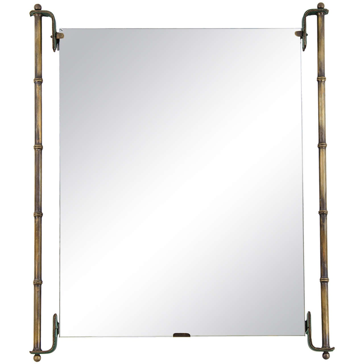 jacques adnet leather and brass frame mirror 1