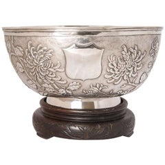 Large Chinese Export Silver Bowl