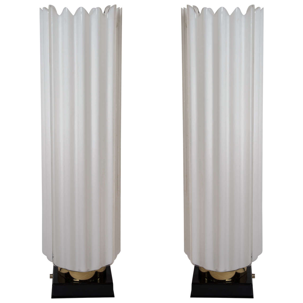 Pair of 1970s Fluted Standard Lamps by Rougier