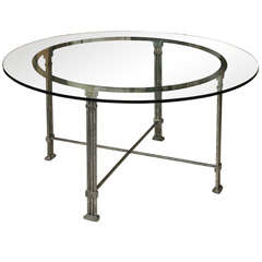 Circular Steel Dining Table with Glass Top, France, 1980s