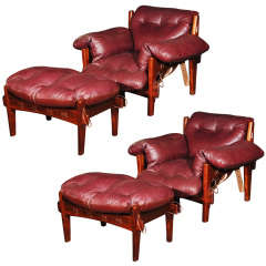 Pair Of Sergio Rodrigues Mischievous Chairs & Ottomans