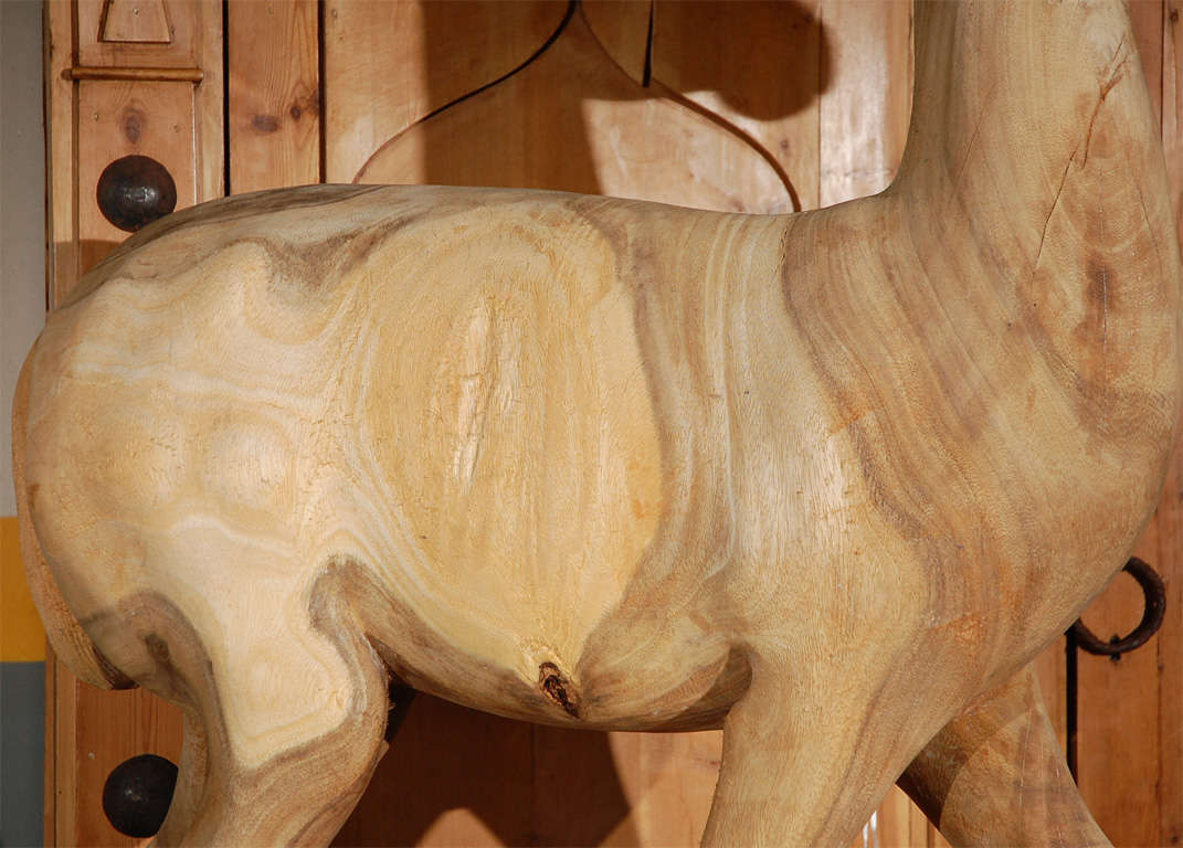 Large Wood Carved Standing Deer In Good Condition For Sale In Los Angeles, CA