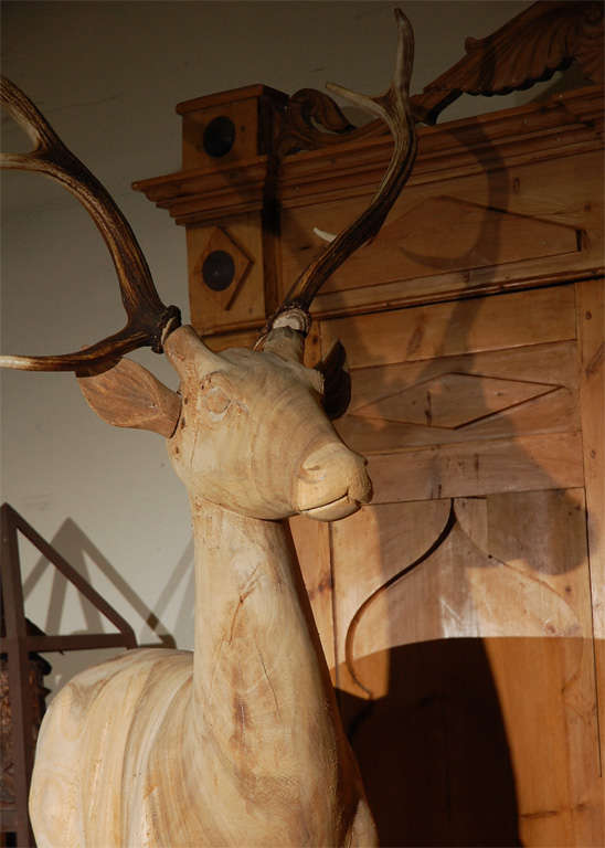 20th Century Large Wood Carved Standing Deer For Sale